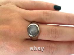 14K Solid White Gold Custom Made Natural Grey Star Sapphire Ring Size 10.75