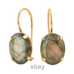 14K Solid Yellow Gold Oval 8X10mm Labradorite Handmade Drop Earrings