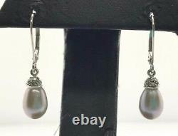 14K White Gold White Gray Briolette Pearl Diamond Accent Drop Dangle Earrings