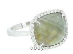14K White Gold Women's Natural Diamond Ring With Sapphire Slice 4.49 Carat