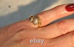 14K Yellow Gold Gray Star Sapphire and Diamond Ring