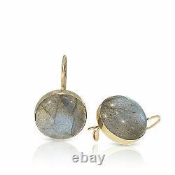 14K Yellow Gold Labradorite Dainty Dangle Earrings March Birthstone Jewelry