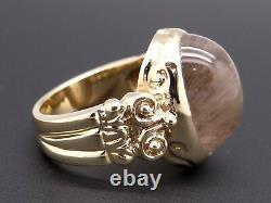 14k Yellow Gold 14ct Cabochon Rutilated Quartz Flower Band Ring Size 9