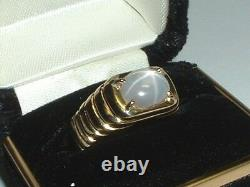 14k Yellow Gold Natural Gray Blue Star Sapphire Ring