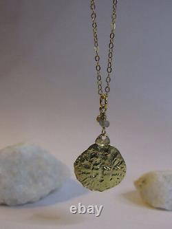 14k Yellow gold necklace with stamping American coin and Labradorite. UNIQUE