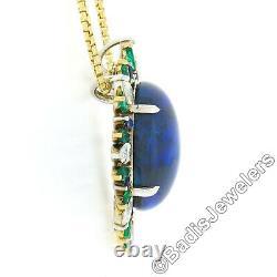 18K TT Gold 23.38ctw GIA Cabochon Opal Diamond Sapphire Emerald Spray Pendant