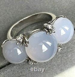 18K White Gold Diamond Chalcedony Cabochon Three Stone Horizontal Ring Italy 7.5