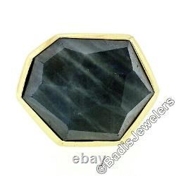 18k Gold IPPOLITA Rock Candy Unique Faceted Blue Gray Stone Solitaire Ring