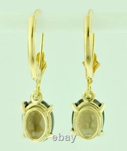 2.26 ct 14k Solid Yellow Gold lever Back Natural oval Smokey Topaz Earring