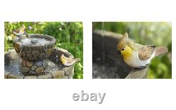 2 Tier Birdbath Water Fountain Feature Solar Powered Cobbled Stone Effect Garden