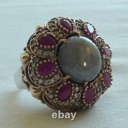 20.40ct NATURAL UNHEATED GRAY STAR SAPPHIRE, RUBY RING 925 SILVER. SIZE 9.75
