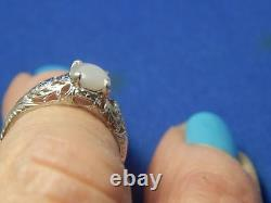 5.8mm Round Cabochon Grey Star Sapphire Filigree Sterling Silver Ring Free Sz