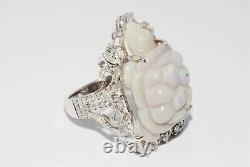 $8,500 12.24ct Natural Opal & Diamond Hand Carved Turtle Ring 14k White Gold