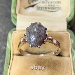 9ct Gold Grey Scottish Jasper Agate Ring Cabochon Hallmarked 1970's Size UK N. 5