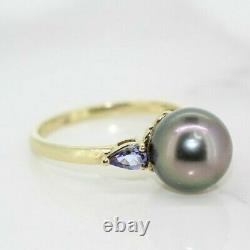9ct Yellow Gold Tahitian Pearl and Iolite Solitaire Ring (Size N 1/2, US 7)