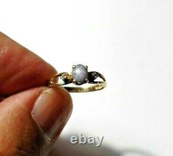Antique 10K Solid Gold With Genuine Star Sapphire Diamond Ring