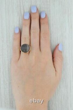 Antique Agate Cabochon Ring 9k Yellow Gold Marbled Gray Solitaire Statement