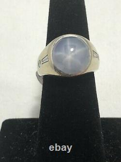 Antique Art Deco 14k White Gold Gray Cabochon Star Sapphire & Diamonds Ring