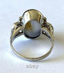 Antique Platinum Ladies Ring Natural Bluish Gray Star Sapphire 2 Diamond Size 6