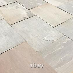 Autumn Brown 600x900 Indian Sandstone Natural paving patio slabs CALIBRATED