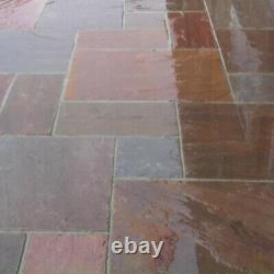 Autumn Brown Mixed sizes Indian Sandstone Natural paving patio slabs CALIBRATED