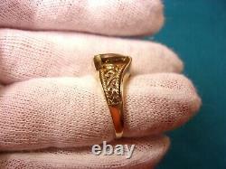 Beautiful 10k Yellow Gold & Gray-ish Trillion Cut Smoky Quartz Gemstone Ring