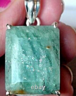 Big! 43.0 Ct Natural Beryl Aquamarine Pendant 925 Sterling Silver