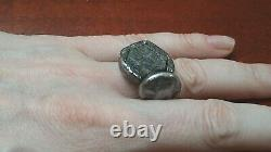 Brutalist Sculptural Sterling Silver Raw Sapphire Oxidised Heavy Huge Wide Ring