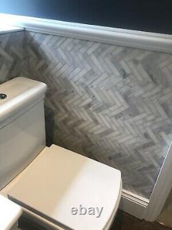 Carrara Marble Mosaic Wall Tiles Herringbone 4.4 Sq. M job lot £250