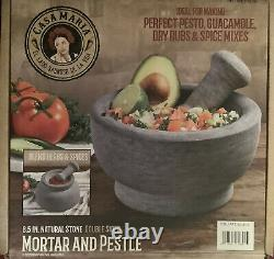 Casa Maria Large Natural Stone Double Sided Mortar and Pestle 8.5