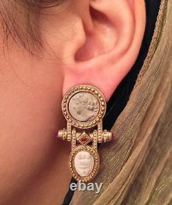 Citrine and Ruby with Stone Cameo Dangle Earrings in14K Yellow Gold HM603I