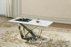 Coffee Table Natural Stone with Marble Effect White Top Grey Stainless Steel