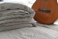 DUVET COVER set & pillow with ruffle natural color Stone Washed Seamless full