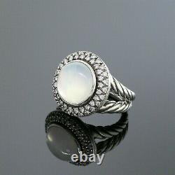 David Yurman 925 Sterling Silver Diamond 14mm Moonstone Round Cerise Ring Size 7