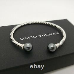 David Yurman Sterling Silver 3.5mm Cable 9mm Hematite Solari Diamond Bracelet