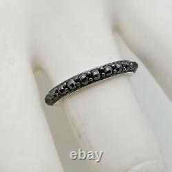 David Yurman Sterling Silver 3'mm Hematite Cable Berries Ring Size 7 Pouch & Box
