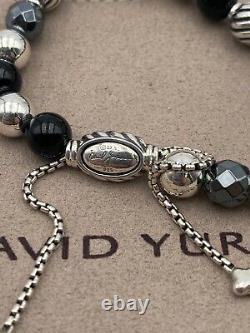 David Yurman Sterling Silver 8mm Elements Hematite Black Onyx Beads Bracelet