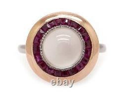 Deco Platinum 14k Rose Gold 3.50ct Cabochon Moonstone Ruby Halo Bezel Ring Sz 7