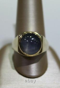 Estate Mens Grey Star Sapphire 14k Yellow Gold Ring Size 9