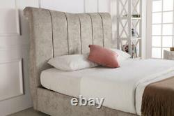 Fabric Sleigh Ottoman Gas Lift Storage Bed End Lifting in Stone/Grey, 5FT, 6FT