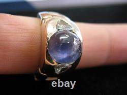 Fine 15.80CT Star Sapphire Trillion Diamond Yellow Gold Ring HUGE