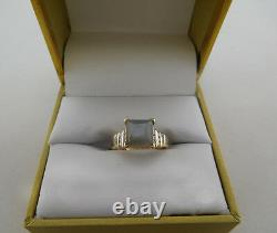 GENUINE 1.65 Cts GREY SAPPHIRE & WHITE SAPPHIRE 14k Gold RING Free Shipping