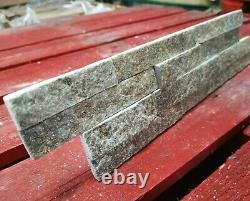 GREY / OLIVE QUARTZ Split Face Stone Wall Cladding Mosaic Tile Tiles SPARKLE