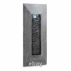 Garden Wall Fountain Led Lightning Water Pump Natural Stone Look Mount Indoor