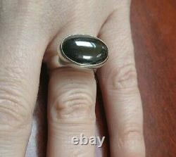 Georg Jensen Denmark Vintage Modernist Sterling Silver & Hematite Big Ring #123B