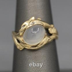 Glowing Moonstone and Playful Dolphin Ring in 14k Yellow Gold