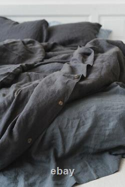 Graphite Gray Pure Natural Stone Washed Linen Bed Set Duvet Cover With Pillows