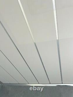 Grey Bathroom Cladding 8mm White Ceiling Panels Tile Effect PVC Shower Wet Wall
