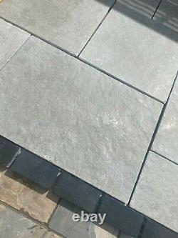 Grey Limestone Paving Honed and Brushed India patio slabs SAWN edge