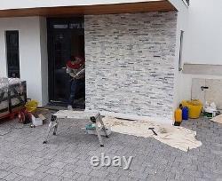 Grey & White Quartz Mixed Split Face 3D Wall Cladding tiles Sparkly SAMPLE